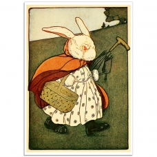 Book Illustration Poster - Mrs. Rabbit, with a Basket and her Umbrella
